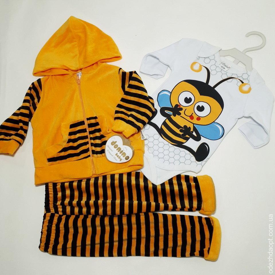 3419 Тройка велюр Donino11556 Пчелка