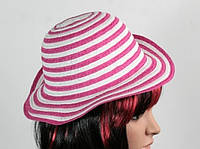 Соломенная шляпа детская Энфант 28 см бело-розовая