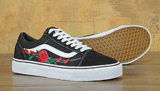 Мужские кеды Vans Old Skool Roses Black . ТОП Реплика ААА класса., фото 3