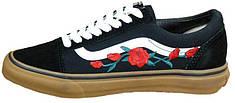 Женские кеды Vans Old School Roses Black/White/Brown. ТОП Реплика ААА класса.
