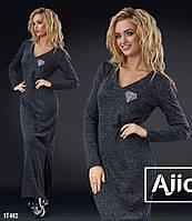 Теплое стильное платье в пол - 17402