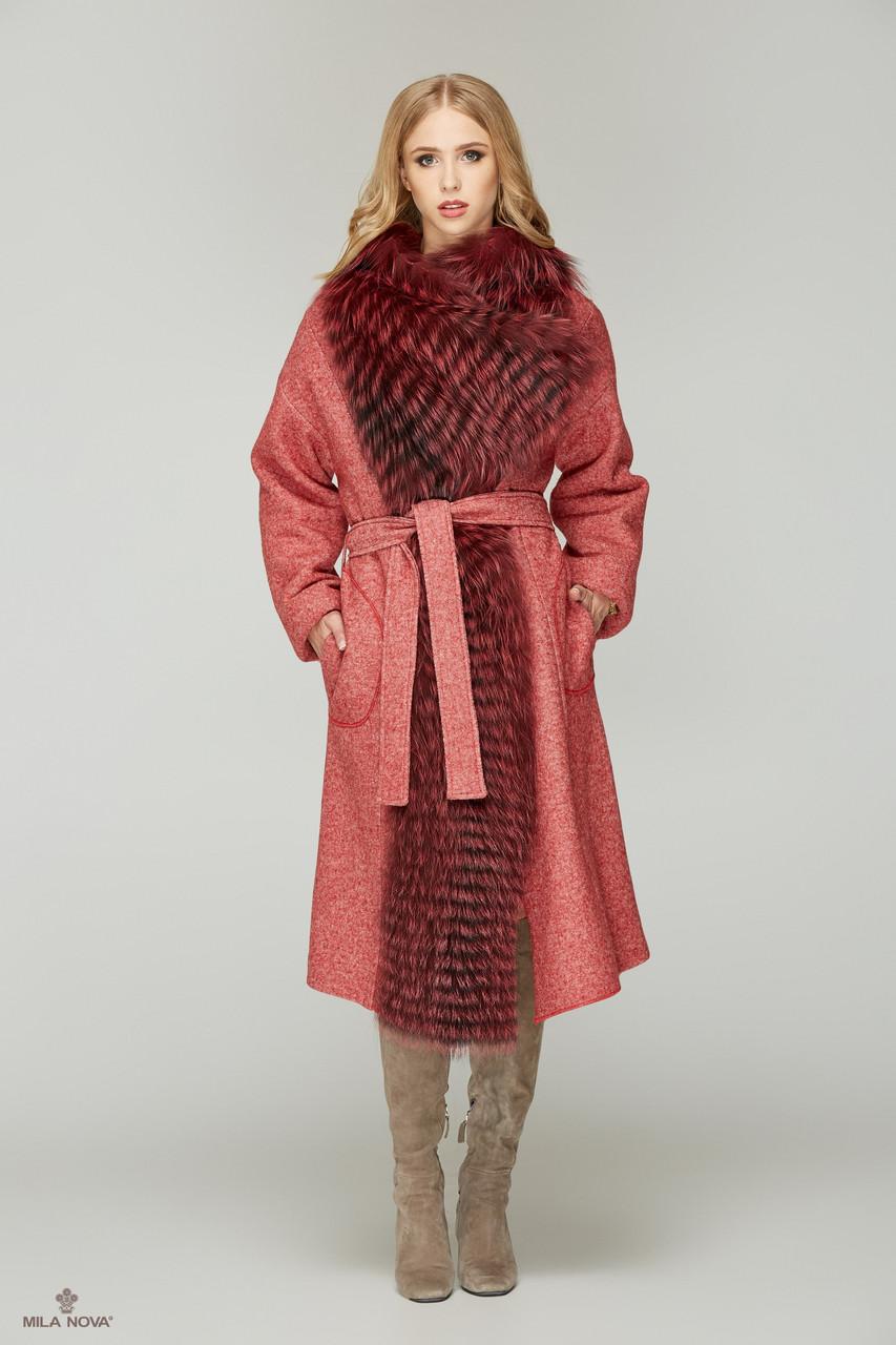 cea9204b460 Шикарное зимнее пальто женское с мехом чернобурки ТМ Mila Nova (красное+красный  мех)