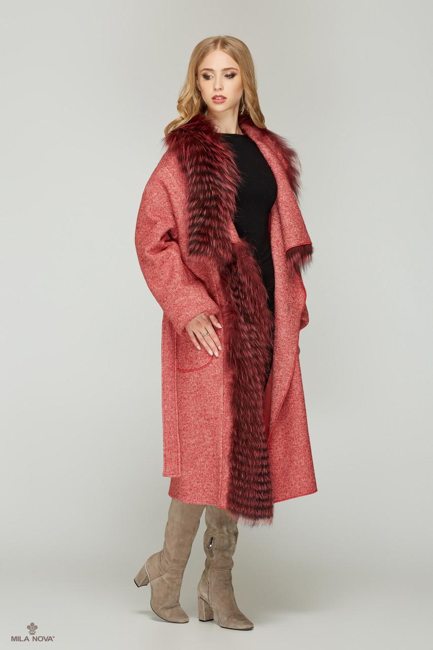 70e94c0943f ... Шикарное зимнее пальто женское с мехом чернобурки ТМ Mila Nova (красное+красный  мех) ...