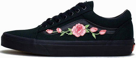 Мужские кеды Vans Old School Roses Black , фото 2