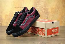 Мужские кеды Vans Old Skool Pro Port Royale Black/Red . ТОП Реплика ААА класса., фото 2