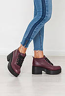 Ботинки бордовые женские из натуральной кожи. Украина
