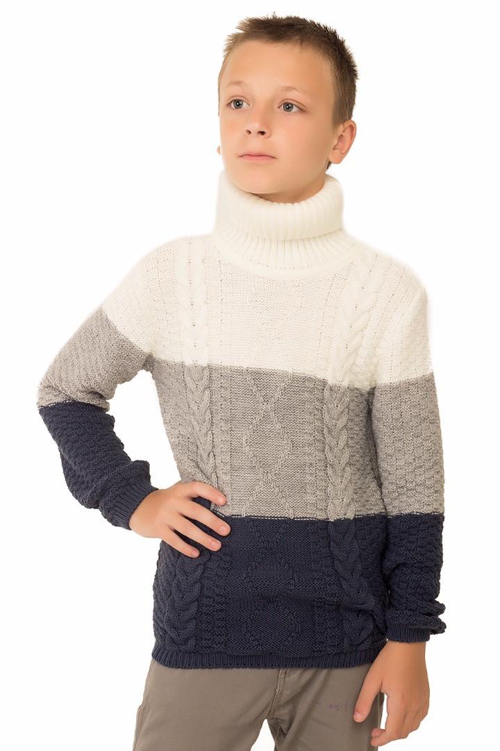Детский вязанный свитер на мальчика подростка, темно-синий р.122-152