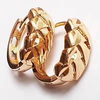 """Серьги кольца """"Косичка"""" (алмазные насечки) Xuping Jewelry. Ювелирный сплав, позолота 18К. , фото 1"""
