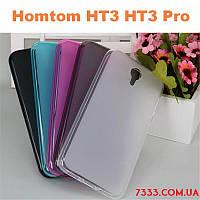 Прозрачно-голубой TPU силиконовый бампер для Homtom HT3, HT3 pro