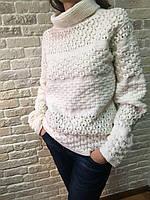 Женский белый свитер с узором ручной работы MoziOne
