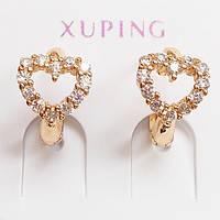 """Маленькие серьги кольца """"Сердце"""" с фианитами Xuping Jewelry. Ювелирный сплав, позолота 18К."""