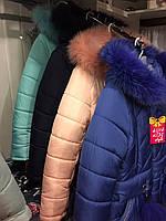 Зимнее пальто на девочку Бубон с натуральным мехом Размеры 38- 44 Морская волна