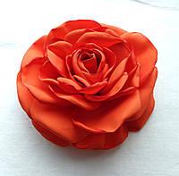 """Брошь из ткани ручной работы """"Оранжевая роза"""""""