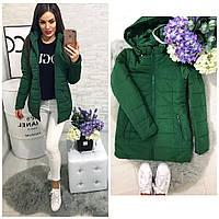 Демисезонная женская куртка с капюшоном темно-зеленная