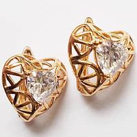 """Серьги фигурным рисунком """"Сердце"""", прозрачный фианит. Ювелирный сплав, позолота 18К. Бижутерия Xuping Jewelry."""