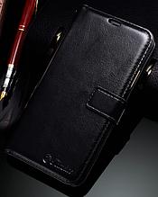 Кожаный чехол-книжка для iPhone X / XS / 10 черный