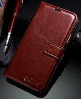 Кожаный чехол-книжка для iPhone X коричневый