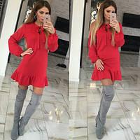 Платье молодежное в расцветках (Красный) до 50 размера