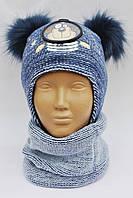 Модная зимняя шапочка на флисе и шарф Польша