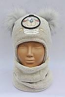 Модная зимняя шапочка на флисе и шарф Польша, фото 1