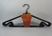 Металлические вешалки плечики 41см в чёрном силиконе с поворотным крючком