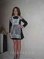 Школьное платье на пуговицах с фартуком