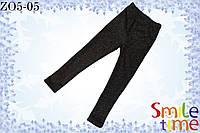 Лосины на меху детские р.98 SmileTime Цветы, черные