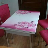 """Розкладний стіл обідній кухонний комплект стіл і стільці 3D малюнок 3д """"Бузкові лілії"""" ДСП скло 60*90 Лотос-М"""