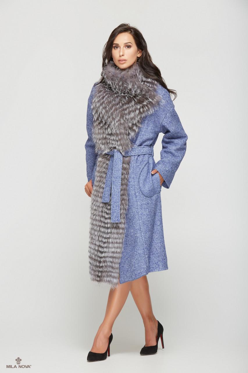 Шикарное зимнее пальто женское с мехом чернобурки ТМ Mila Nova (синее+серый мех)