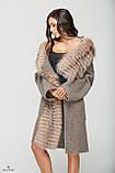 Шикарное зимнее пальто женское с мехом чернобурки ТМ Mila Nova (светло-бежевое короткое), фото 5