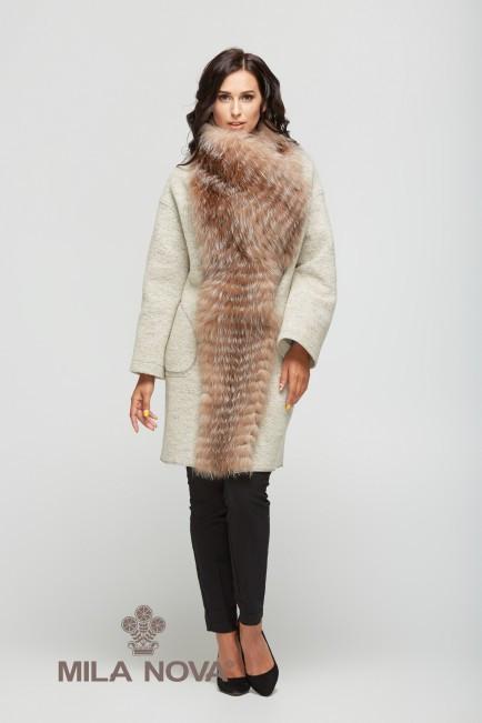 Шикарное зимнее пальто женское с мехом чернобурки ТМ Mila Nova (светло-бежевое короткое)
