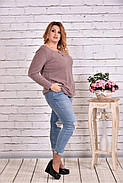 Женская блуза с вышивкой 0619 / размер 42-74 цвет бежевый, фото 2