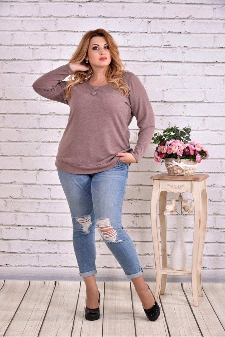 Женская блуза с вышивкой 0619 / размер 42-74 цвет бежевый