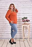 Женская блуза с вышивкой 0619 / размер 42-74 цвет терракот, фото 2