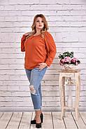 Женская блуза с вышивкой 0619 / размер 42-74 цвет терракот, фото 3