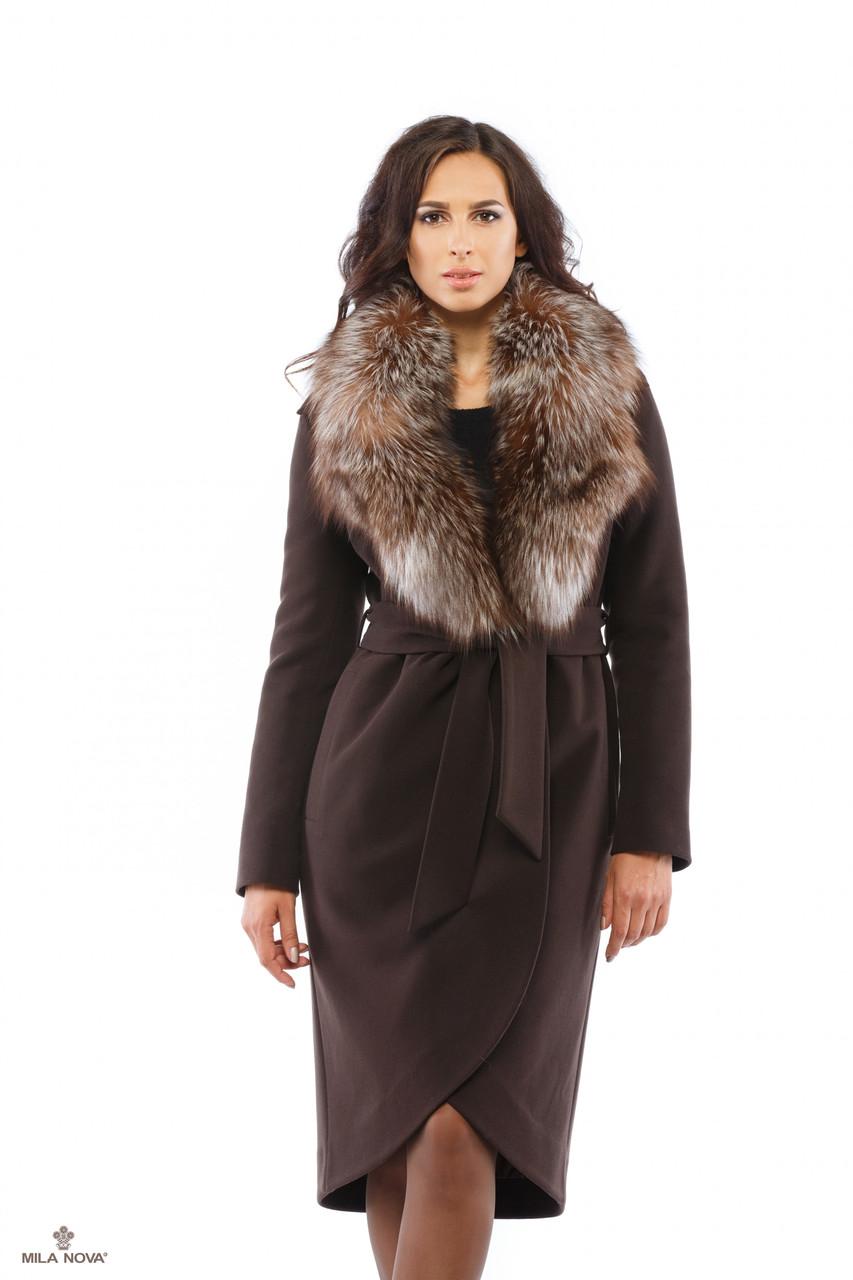 4470ed898f9 Зимнее пальто женское из кашемира с мехом чернобурки ТМ Mila Nova (шоколад)  - EveryWear