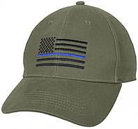 Бейсболка Rothco Thin Blue Line Flag Low Profile Cap Olive Drab 4425
