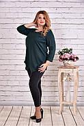 Женская ассиметричная туника 0612 цвет зеленый / размер 42-74, фото 2