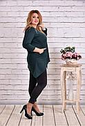 Женская ассиметричная туника 0612 цвет зеленый / размер 42-74, фото 4
