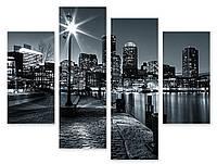 Модульная картина черно-белый город