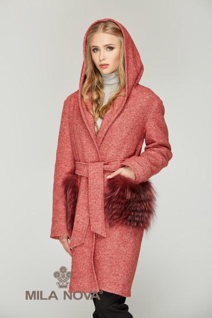 6cb3f4ef87d Зимнее пальто женское с меховыми карманами ТМ Mila Nova (красное+красный  мех)