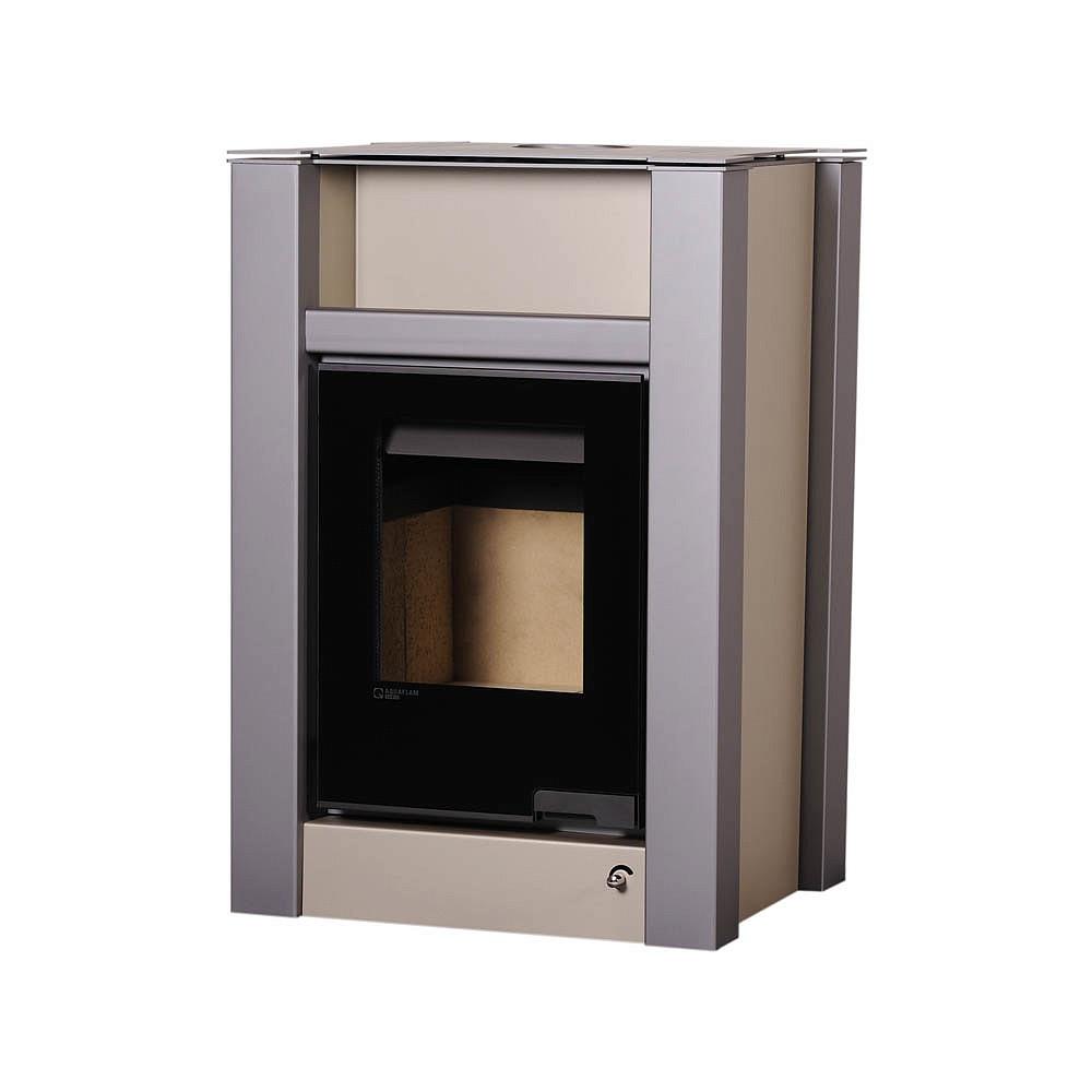 Отопительная печь-камин длительного горения AQUAFLAM VARIO LEND (водяной контур, кремовый металлик)