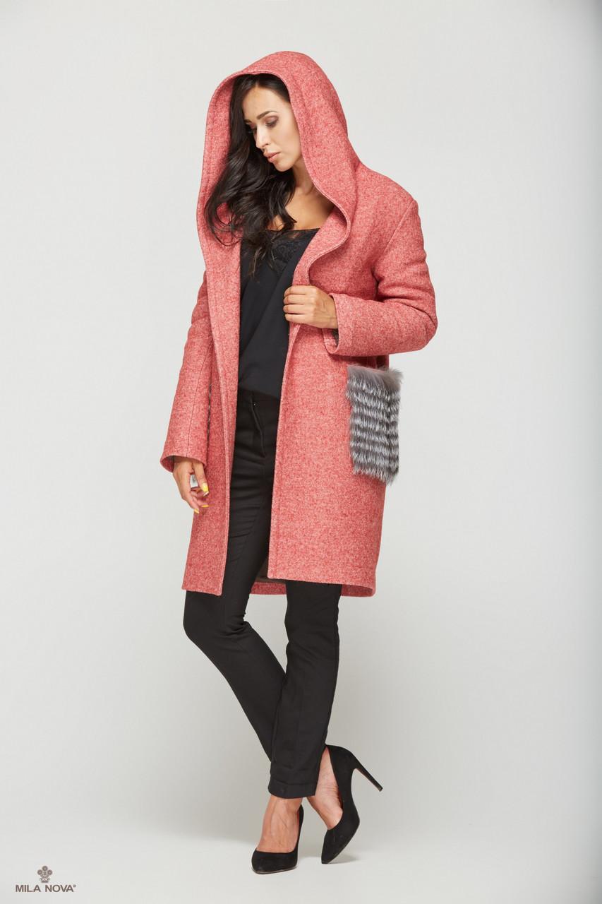 161562987a0 Зимнее пальто женское с меховыми карманами ТМ Mila Nova (красное+серый  мех)