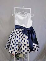 Детское нарядное платье в горох размер 122 ( с подъюбником)