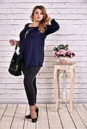 Женская ассиметричная туника 0612 цвет темно синий / размер 42-74, фото 3