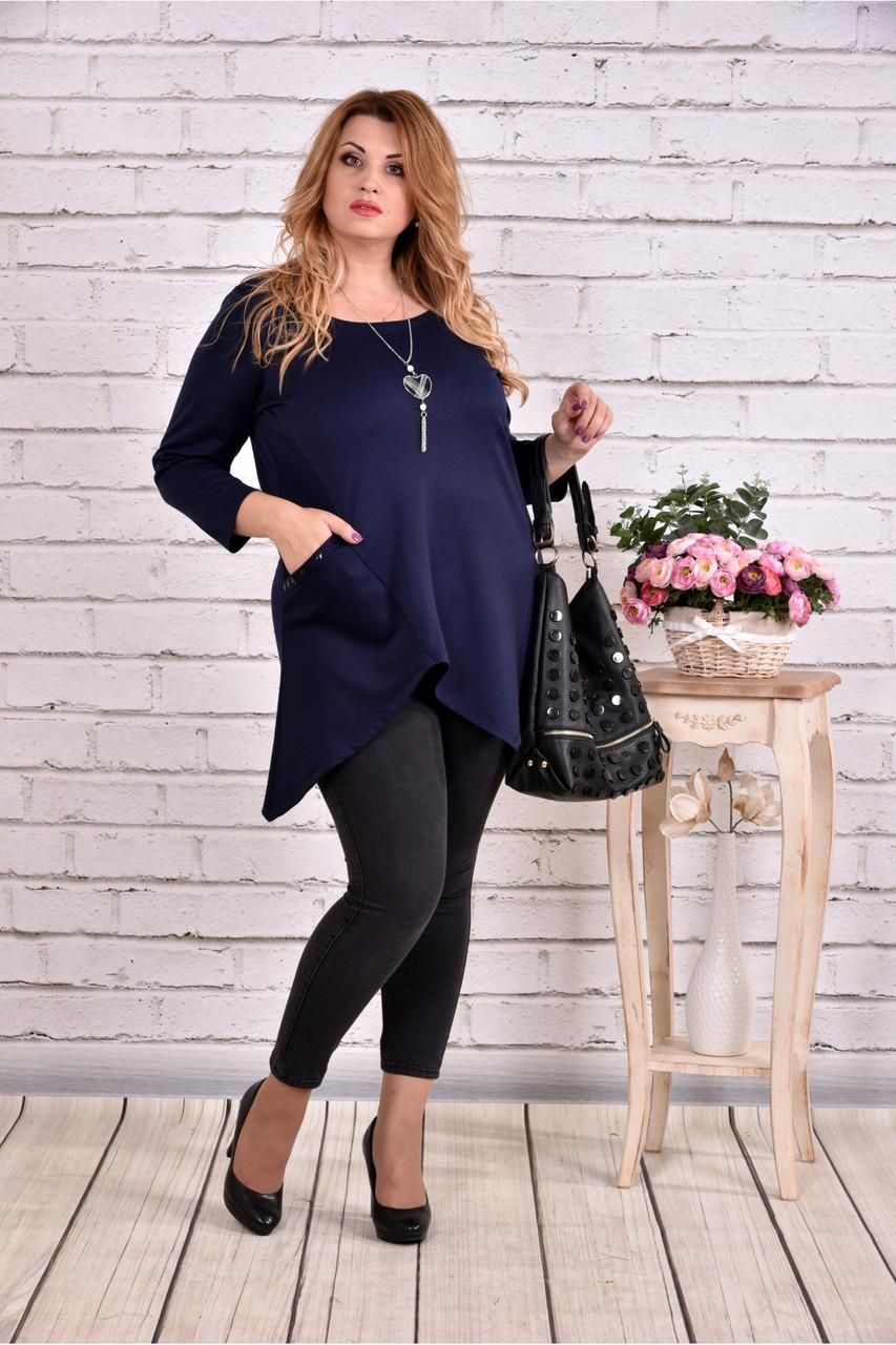 Женская ассиметричная туника 0612 цвет темно синий / размер 42-74