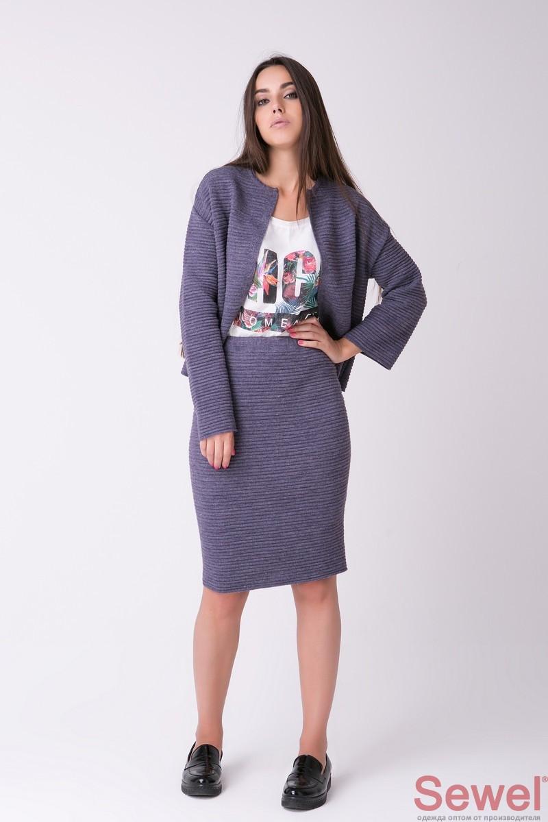Женский вязаный костюм с юбкой и кофтой