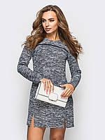 Модное платье из букле с шерстяной подкладкой и кожаной всавкой
