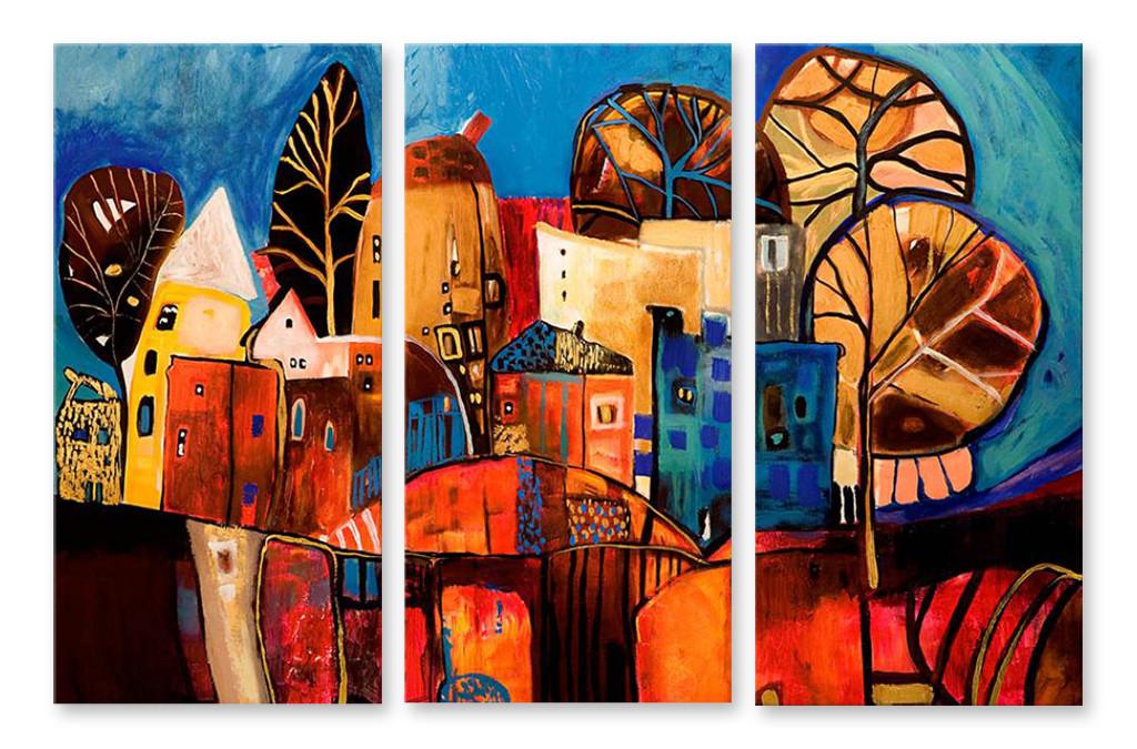 Модульная картина рисунок домов