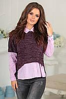 Свитшот из ангоры с рубашкой-обманкой (4 цвета) 4047, фото 1